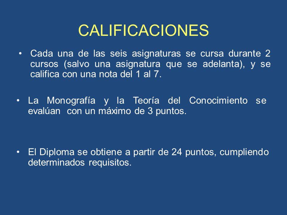 CALIFICACIONES Cada una de las seis asignaturas se cursa durante 2 cursos (salvo una asignatura que se adelanta), y se califica con una nota del 1 al 7.