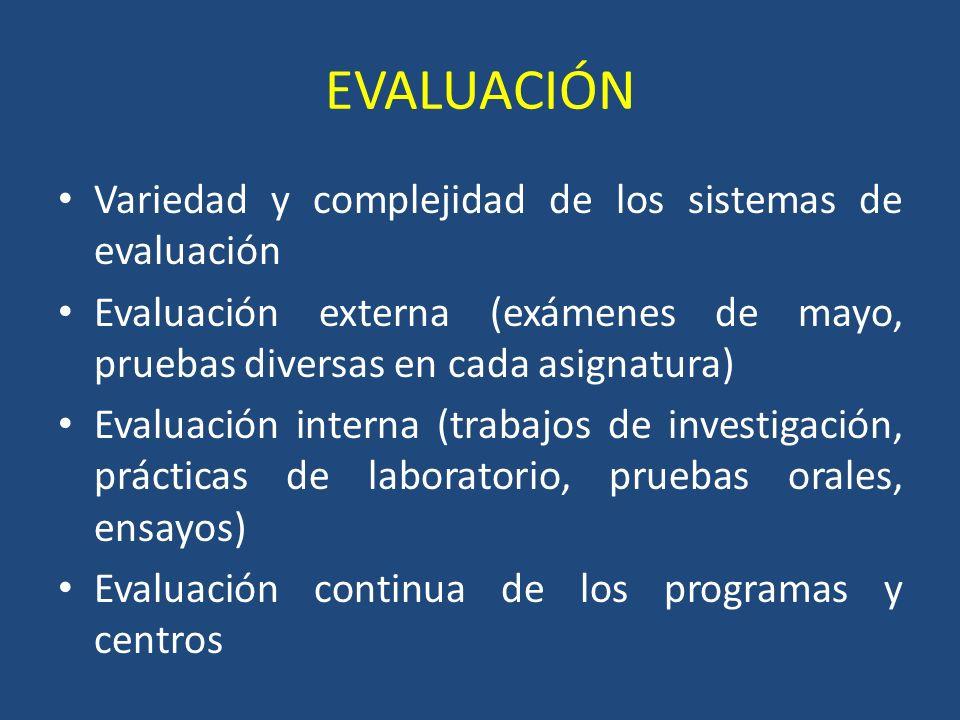 EVALUACIÓN Variedad y complejidad de los sistemas de evaluación Evaluación externa (exámenes de mayo, pruebas diversas en cada asignatura) Evaluación interna (trabajos de investigación, prácticas de laboratorio, pruebas orales, ensayos) Evaluación continua de los programas y centros