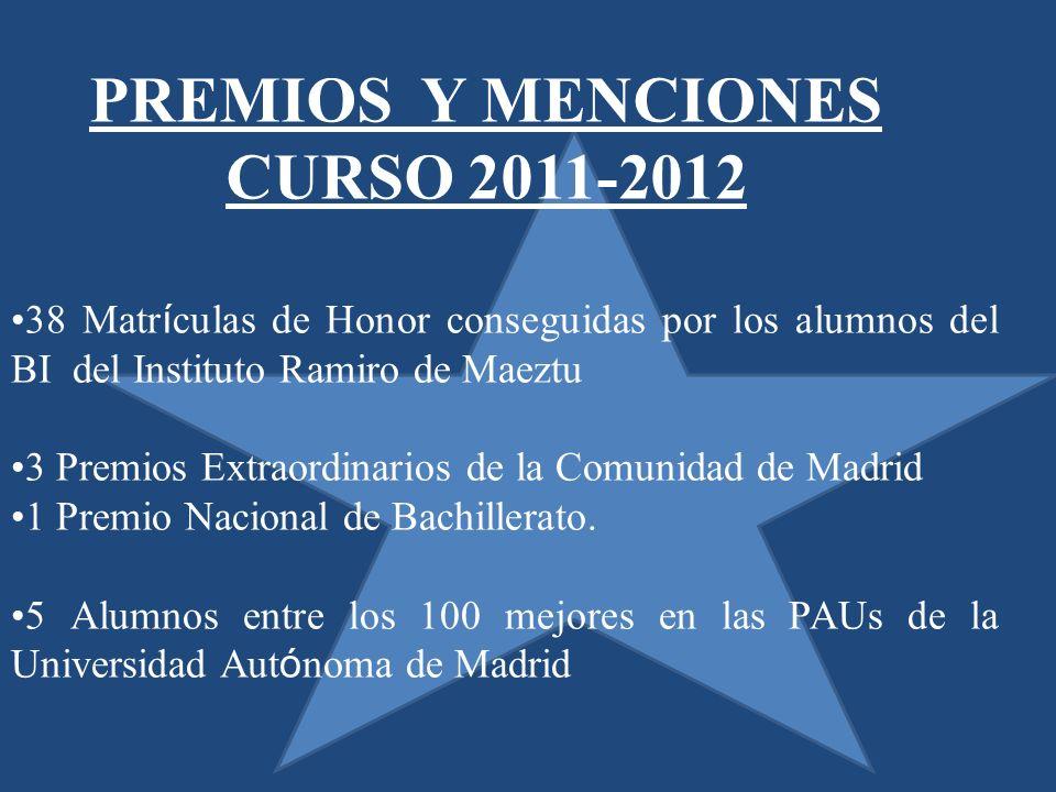 38 Matr í culas de Honor conseguidas por los alumnos del BI del Instituto Ramiro de Maeztu 3 Premios Extraordinarios de la Comunidad de Madrid 1 Premio Nacional de Bachillerato.