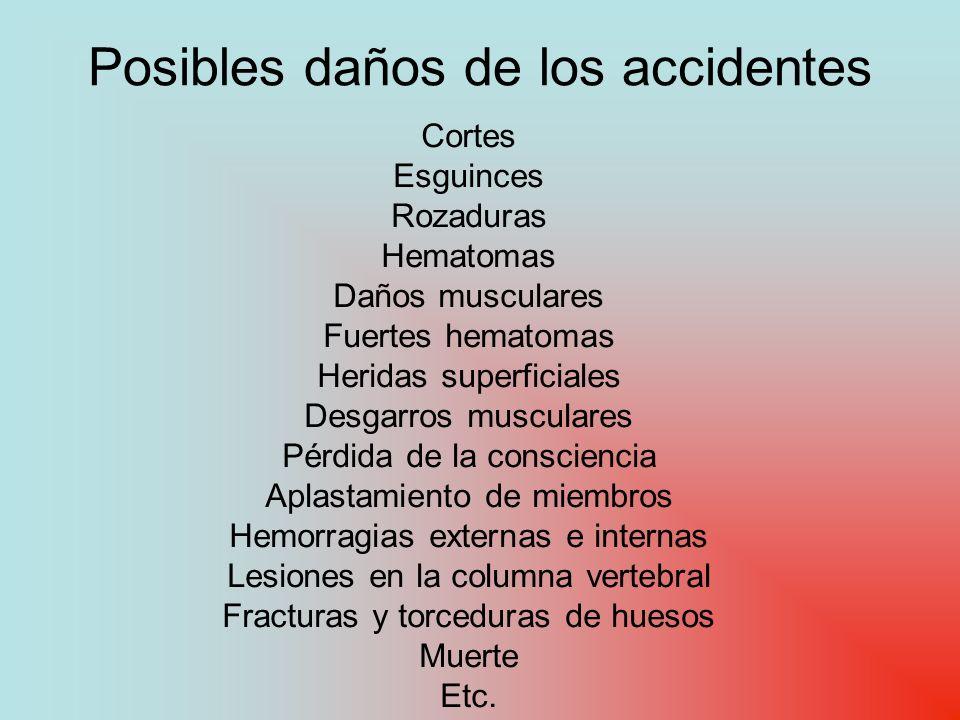 Posibles daños de los accidentes Cortes Esguinces Rozaduras Hematomas Daños musculares Fuertes hematomas Heridas superficiales Desgarros musculares Pé