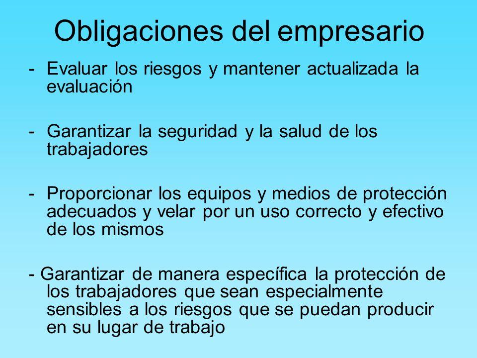 Obligaciones del empresario -Evaluar los riesgos y mantener actualizada la evaluación -Garantizar la seguridad y la salud de los trabajadores -Proporc