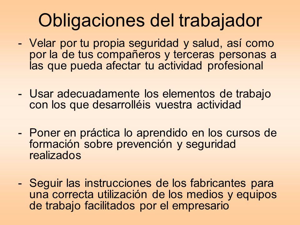 Obligaciones del trabajador -Velar por tu propia seguridad y salud, así como por la de tus compañeros y terceras personas a las que pueda afectar tu a