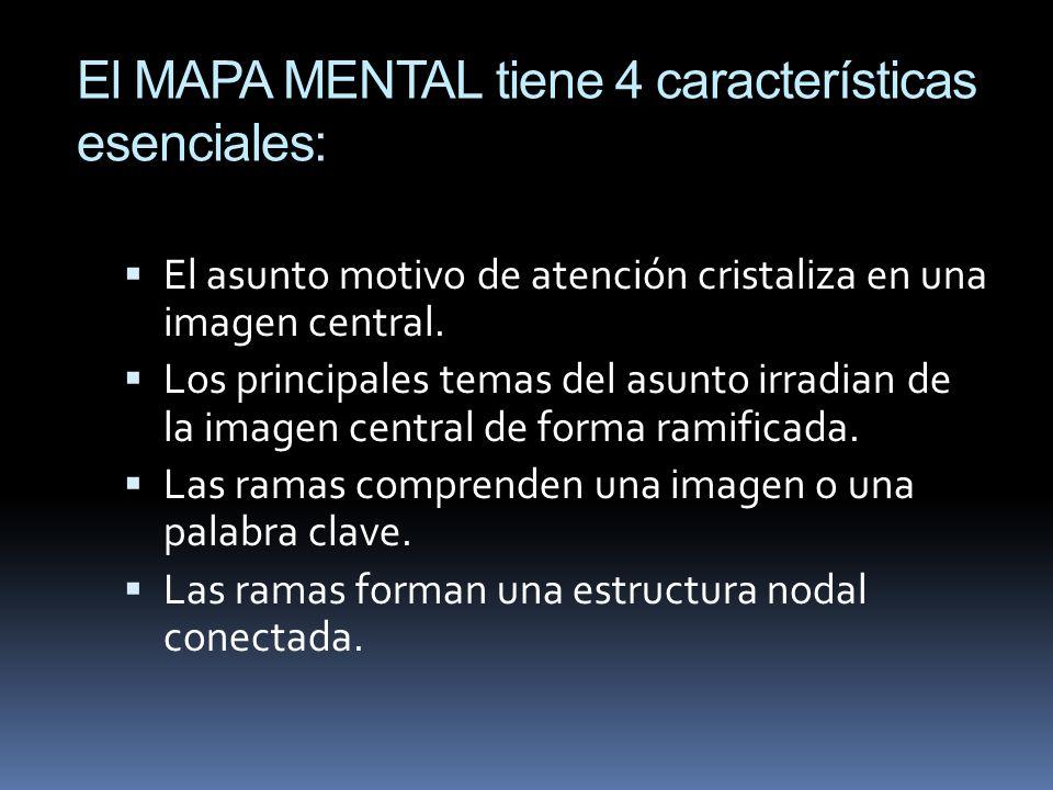 El MAPA MENTAL tiene 4 características esenciales: El asunto motivo de atención cristaliza en una imagen central. Los principales temas del asunto irr