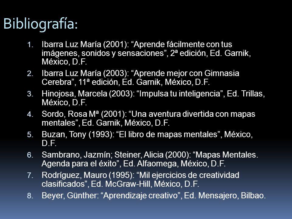 Bibliografía: 1. Ibarra Luz María (2001): Aprende fácilmente con tus imágenes, sonidos y sensaciones, 2ª edición, Ed. Garnik, México, D.F. 2. Ibarra L