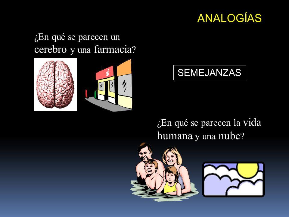 ANALOGÍAS ¿En qué se parecen un cerebro y una farmacia ? ¿En qué se parecen la vida humana y una nube ? SEMEJANZAS