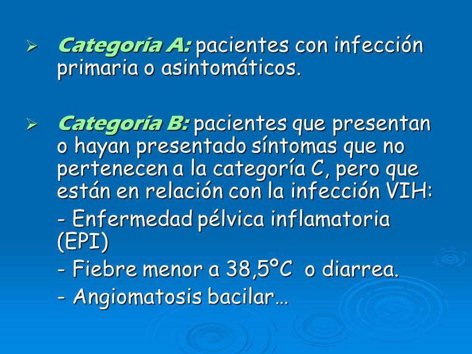 Categoría C: pacientes que presentan o hayan presentado algunas complicaciones incluidas en la definición de SIDA de 1987 de la OMS.