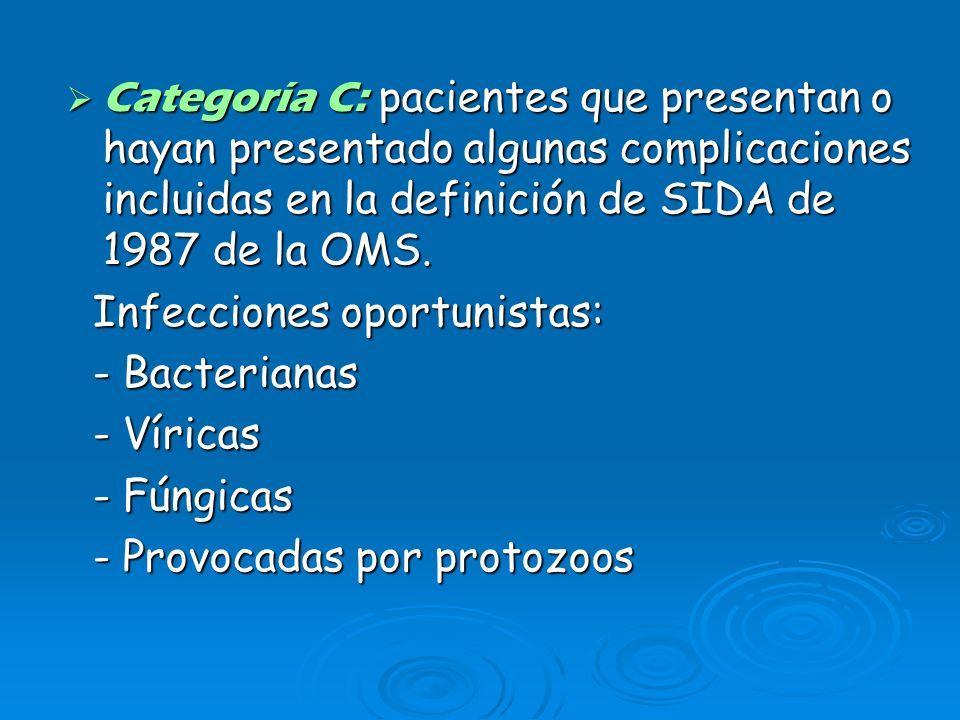 Categoría C: pacientes que presentan o hayan presentado algunas complicaciones incluidas en la definición de SIDA de 1987 de la OMS. Categoría C: paci