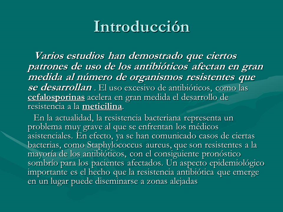 Introducción Varios estudios han demostrado que ciertos patrones de uso de los antibióticos afectan en gran medida al número de organismos resistentes