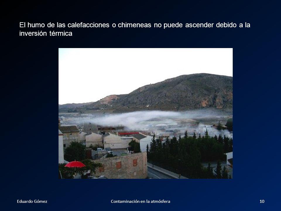 El humo de las calefacciones o chimeneas no puede ascender debido a la inversión térmica Eduardo Gómez10Contaminación en la atmósfera