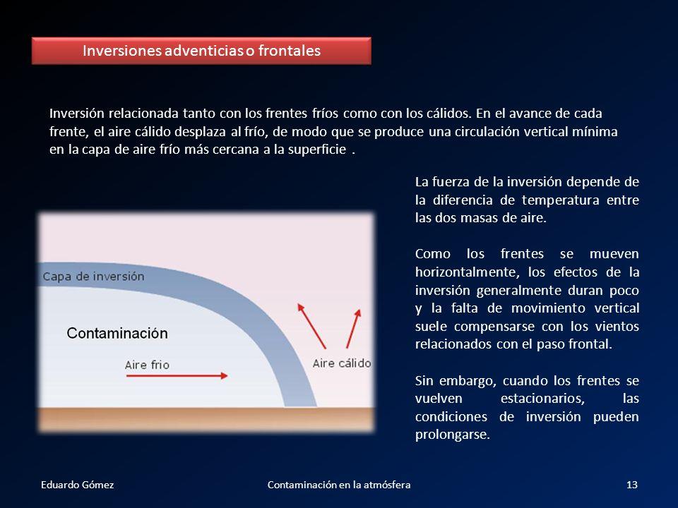 Inversiones adventicias o frontales Inversión relacionada tanto con los frentes fríos como con los cálidos. En el avance de cada frente, el aire cálid