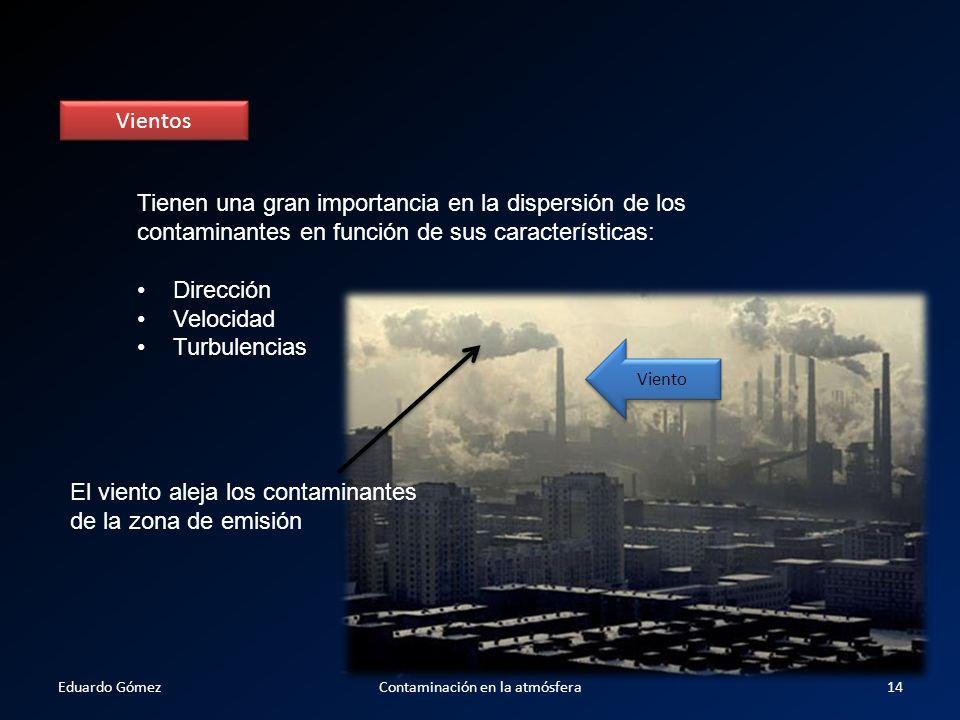 Vientos Tienen una gran importancia en la dispersión de los contaminantes en función de sus características: Dirección Velocidad Turbulencias El vient