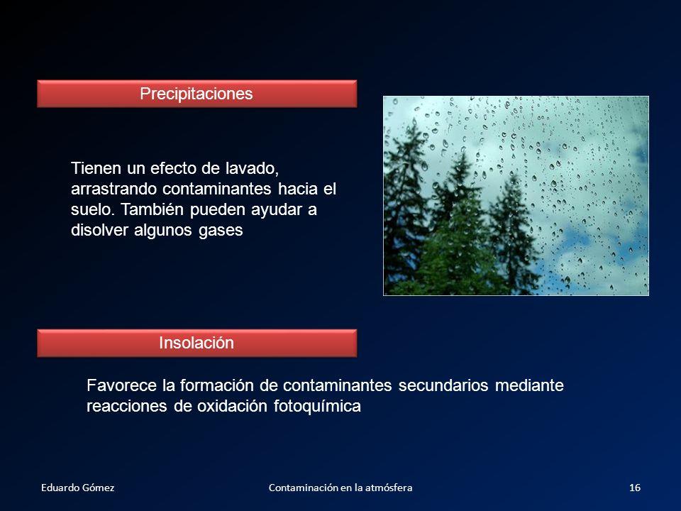 Precipitaciones Tienen un efecto de lavado, arrastrando contaminantes hacia el suelo. También pueden ayudar a disolver algunos gases Insolación Favore