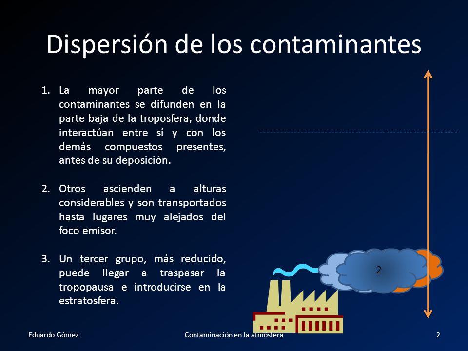 Dispersión de los contaminantes 1.La mayor parte de los contaminantes se difunden en la parte baja de la troposfera, donde interactúan entre sí y con