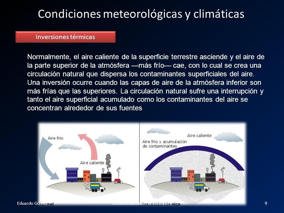 Condiciones meteorológicas y climáticas Inversiones térmicas Normalmente, el aire caliente de la superficie terrestre asciende y el aire de la parte s