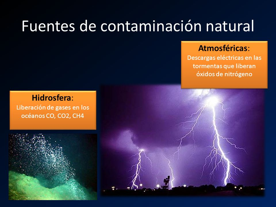 Fuentes de contaminación natural Atmosféricas: Descargas eléctricas en las tormentas que liberan óxidos de nitrógeno Atmosféricas: Descargas eléctrica