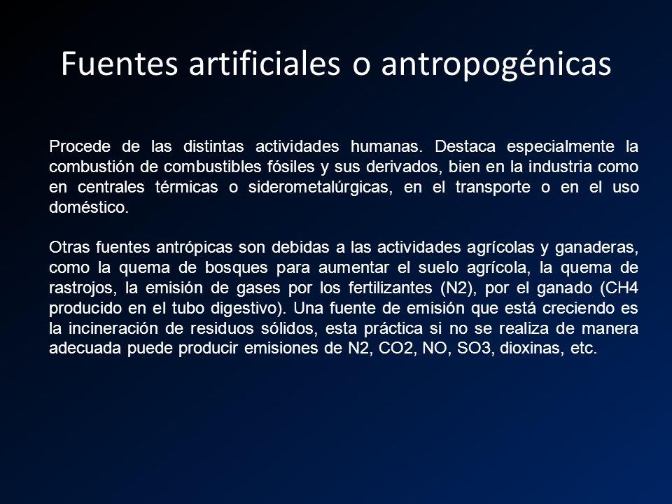 Fuentes artificiales o antropogénicas Procede de las distintas actividades humanas. Destaca especialmente la combustión de combustibles fósiles y sus