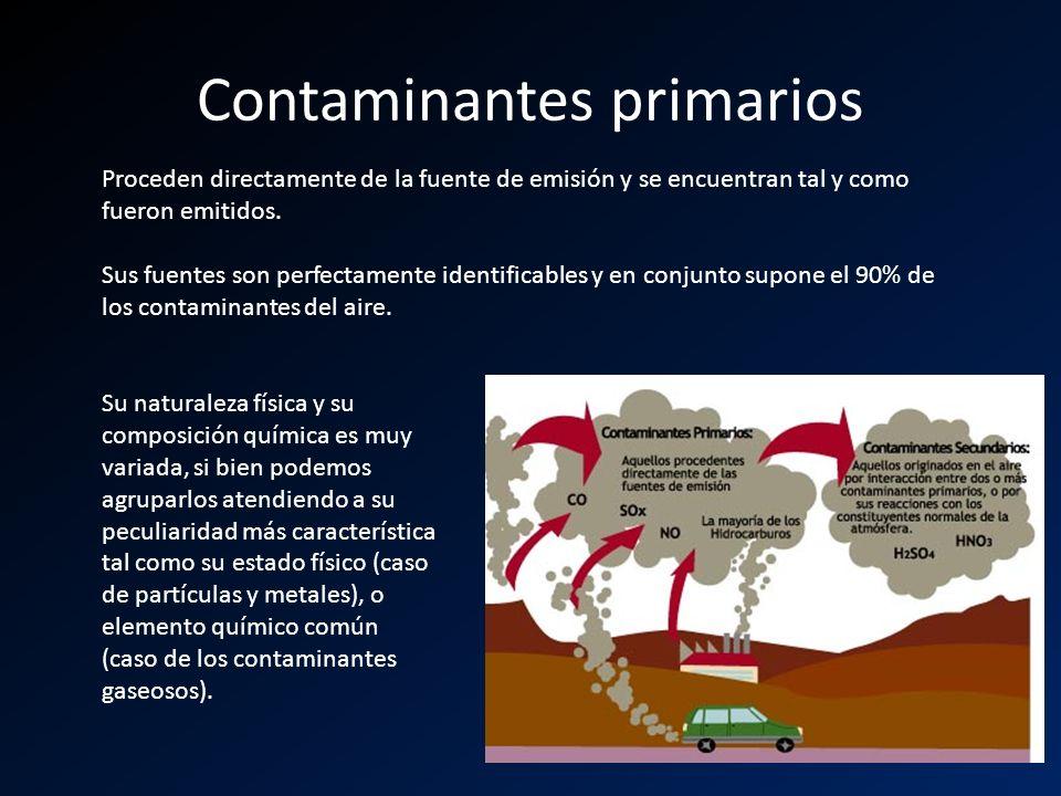 Contaminantes primarios Proceden directamente de la fuente de emisión y se encuentran tal y como fueron emitidos. Sus fuentes son perfectamente identi