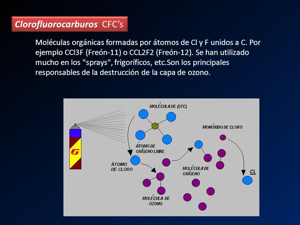 Moléculas orgánicas formadas por átomos de Cl y F unidos a C. Por ejemplo CCl3F (Freón-11) o CCL2F2 (Freón-12). Se han utilizado mucho en los