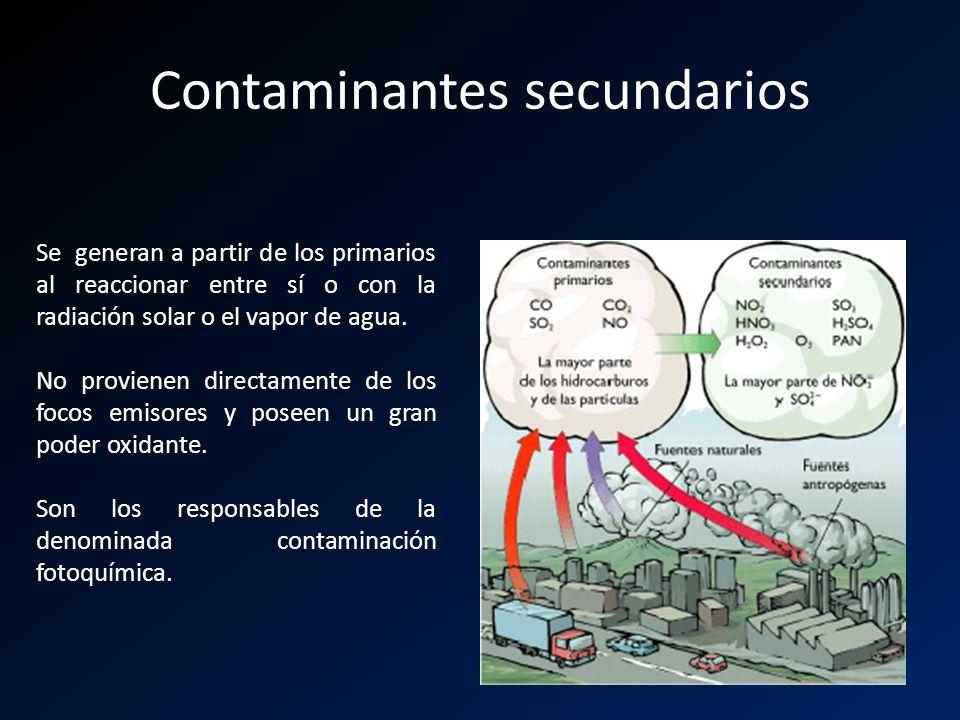 Contaminantes secundarios Se generan a partir de los primarios al reaccionar entre sí o con la radiación solar o el vapor de agua. No provienen direct