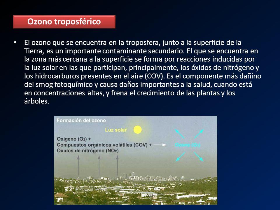 El ozono que se encuentra en la troposfera, junto a la superficie de la Tierra, es un importante contaminante secundario. El que se encuentra en la zo