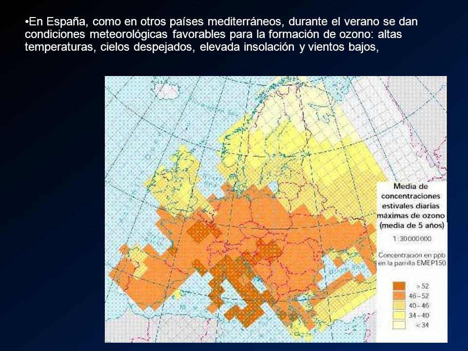 En España, como en otros países mediterráneos, durante el verano se dan condiciones meteorológicas favorables para la formación de ozono: altas temper