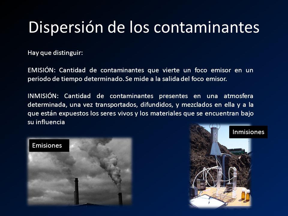 Dispersión de los contaminantes Hay que distinguir: EMISIÓN: Cantidad de contaminantes que vierte un foco emisor en un periodo de tiempo determinado.