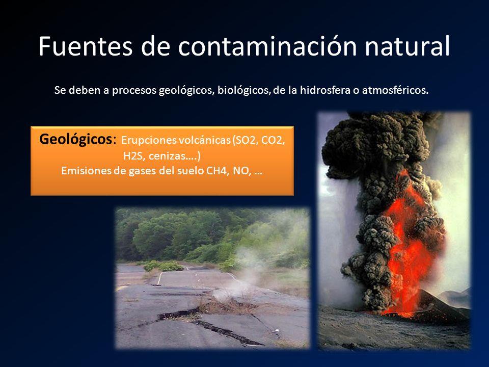 Fuentes de contaminación natural Se deben a procesos geológicos, biológicos, de la hidrosfera o atmosféricos. Geológicos: Erupciones volcánicas (SO2,