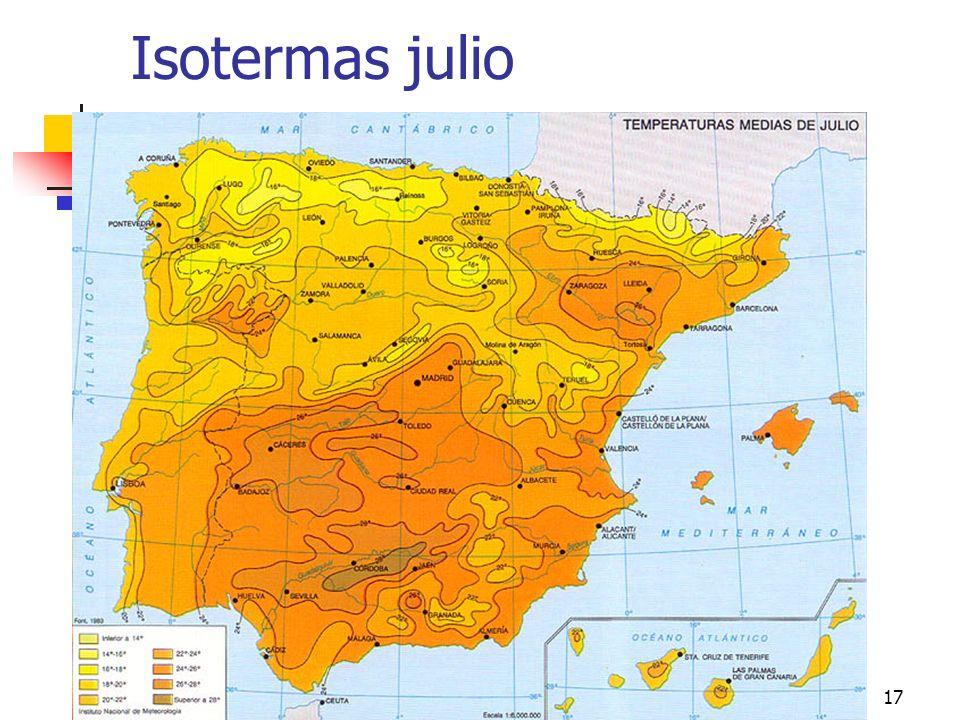 climas peninsulares17 Isotermas julio
