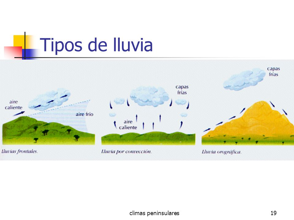 climas peninsulares19 Tipos de lluvia