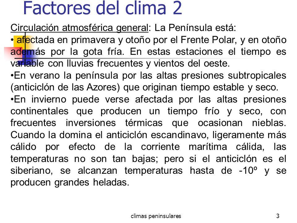 climas peninsulares3 Factores del clima 2 Circulación atmosférica general: La Península está: afectada en primavera y otoño por el Frente Polar, y en