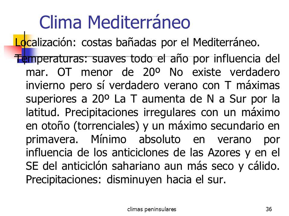 climas peninsulares36 Clima Mediterráneo Localización: costas bañadas por el Mediterráneo. Temperaturas: suaves todo el año por influencia del mar. OT