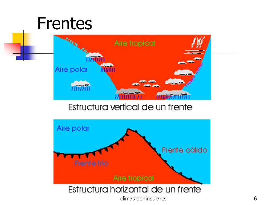 climas peninsulares37 Clima Mediterráneo regiónOTTmTEneroTAgostoPmmDías P Cataluña151682452570 Valencia15171024,547555 Sureste1518112635030 Andalucía1418,512,52665045