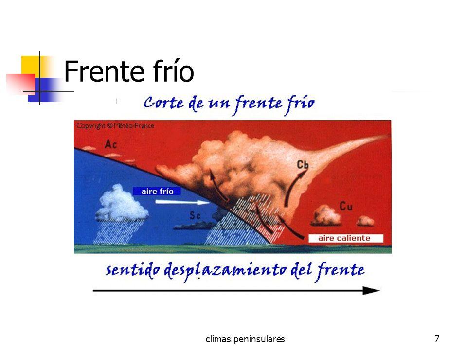 climas peninsulares48 Clima de Montaña CLIMA DE MONTAÑA : la montaña modifica los dominios climáticos al hacer bajar las T y aumentar las P en forma de lluvia y nieve.