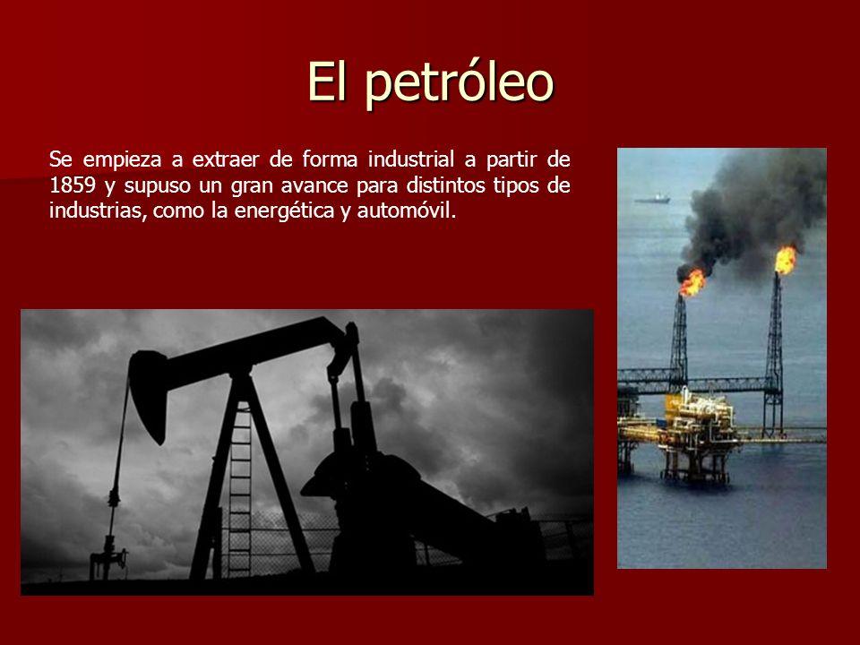 El petróleo Se empieza a extraer de forma industrial a partir de 1859 y supuso un gran avance para distintos tipos de industrias, como la energética y