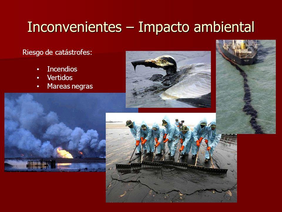 Inconvenientes – Impacto ambiental Riesgo de catástrofes: Incendios Vertidos Mareas negras