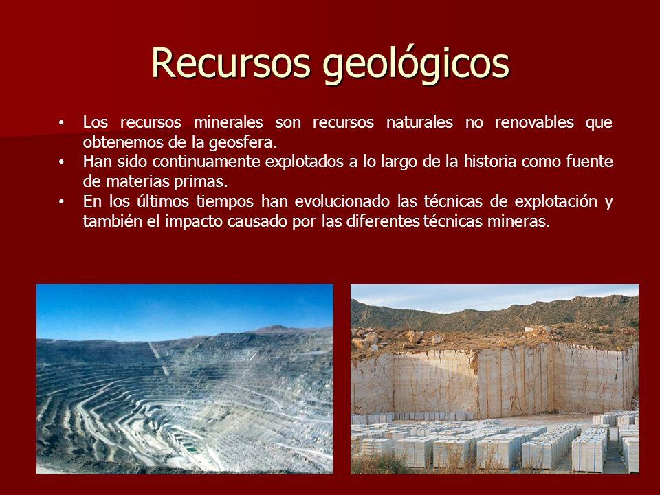 Recursos geológicos Los recursos minerales son recursos naturales no renovables que obtenemos de la geosfera. Han sido continuamente explotados a lo l