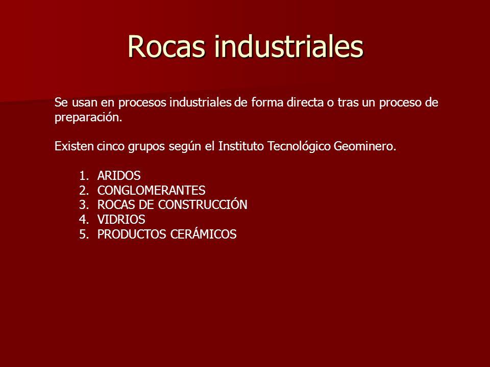 Rocas industriales Se usan en procesos industriales de forma directa o tras un proceso de preparación. Existen cinco grupos según el Instituto Tecnoló