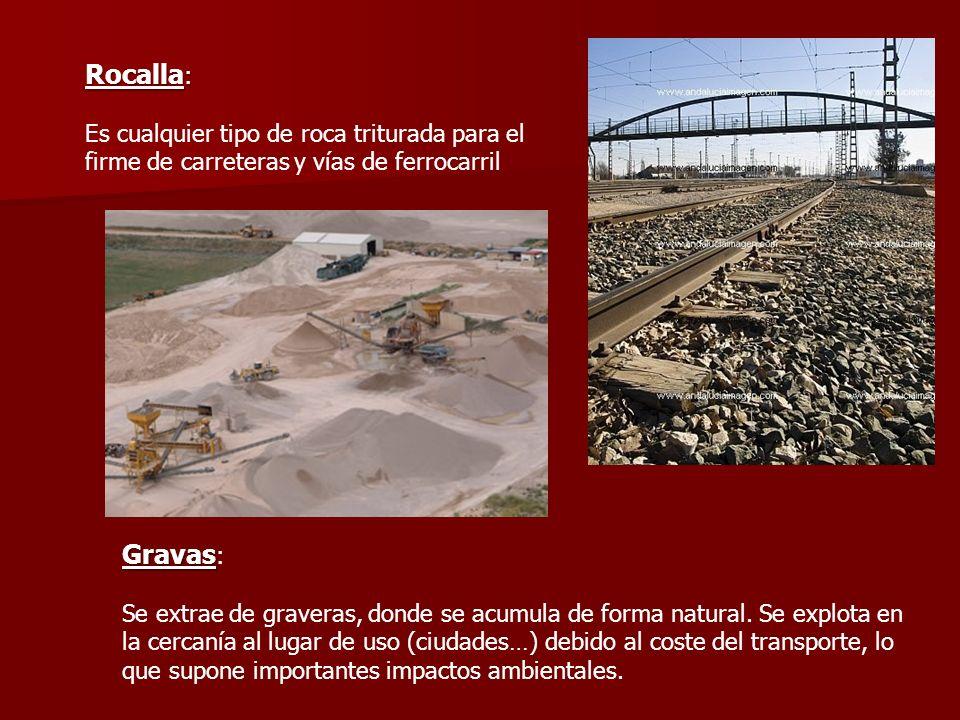 Rocalla : Es cualquier tipo de roca triturada para el firme de carreteras y vías de ferrocarril Gravas Gravas : Se extrae de graveras, donde se acumul