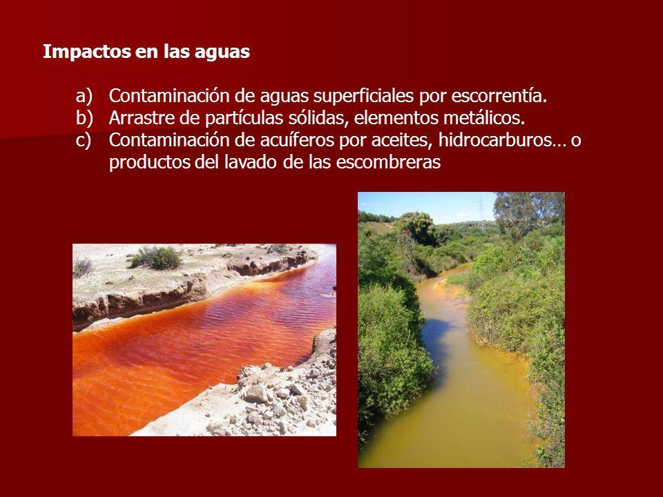 Impactos en las aguas a)Contaminación de aguas superficiales por escorrentía. b)Arrastre de partículas sólidas, elementos metálicos. c)Contaminación d