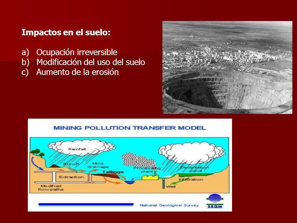 Impactos en el suelo: a)Ocupación irreversible b)Modificación del uso del suelo c)Aumento de la erosión