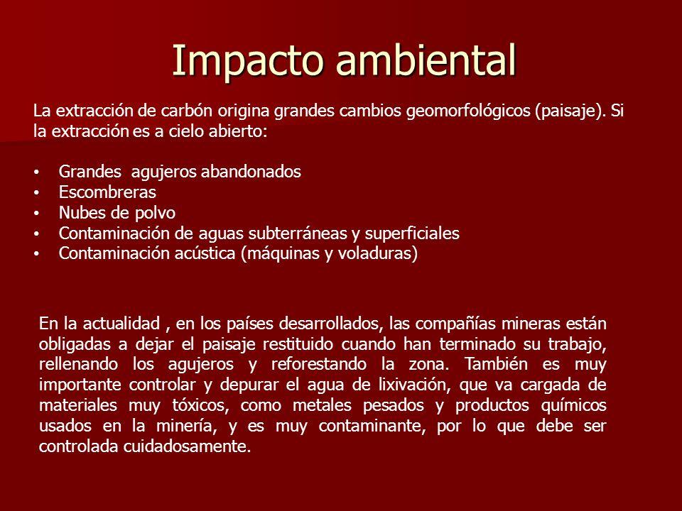Impacto ambiental La extracción de carbón origina grandes cambios geomorfológicos (paisaje). Si la extracción es a cielo abierto: Grandes agujeros aba