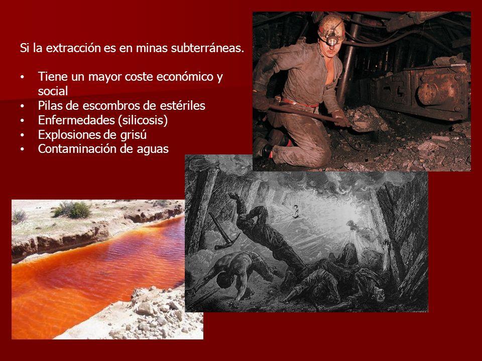 Si la extracción es en minas subterráneas. Tiene un mayor coste económico y social Pilas de escombros de estériles Enfermedades (silicosis) Explosione