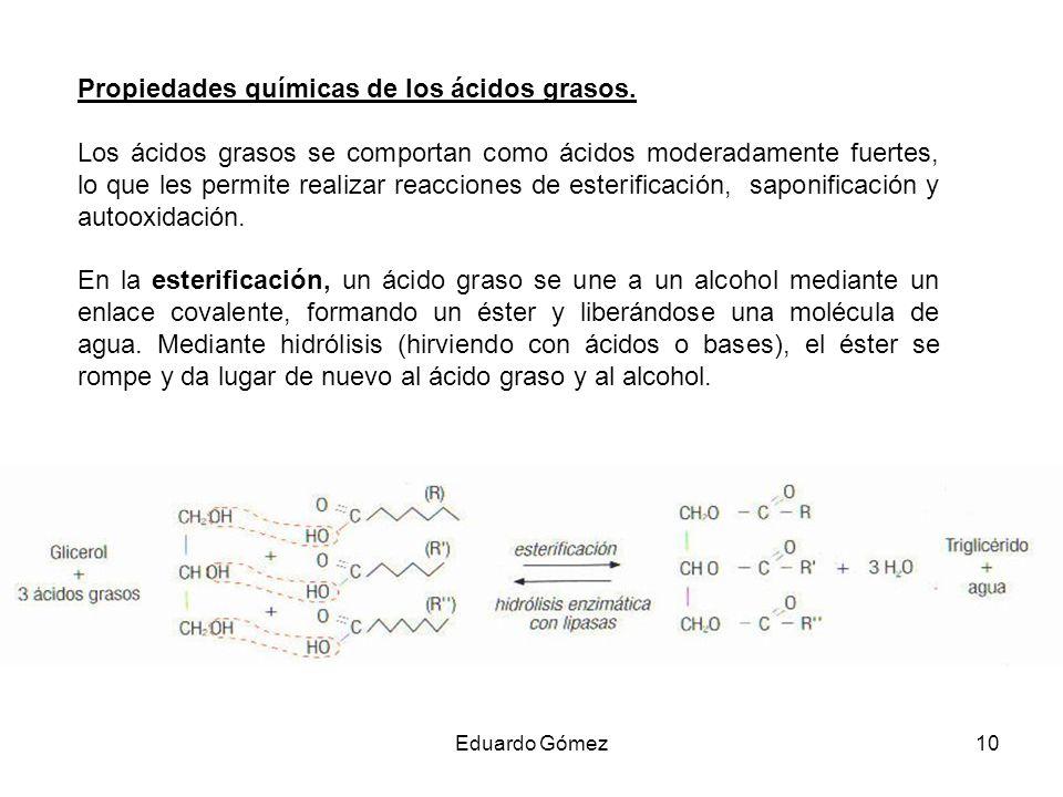 Propiedades químicas de los ácidos grasos. Los ácidos grasos se comportan como ácidos moderadamente fuertes, lo que les permite realizar reacciones de