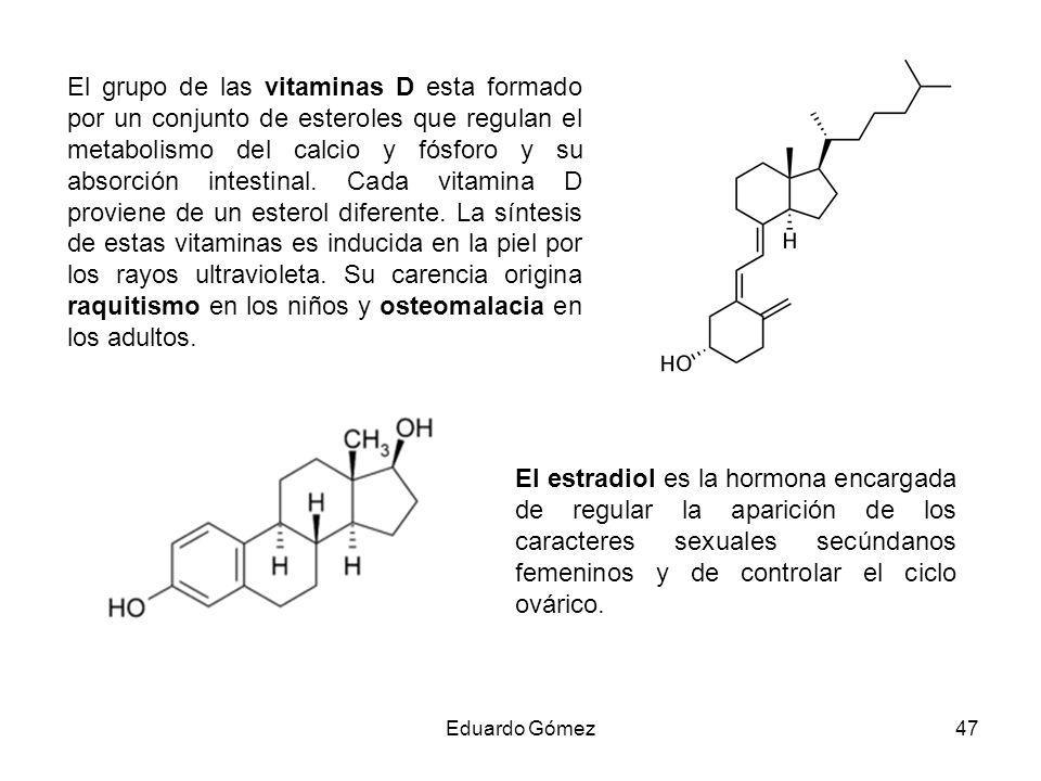 El grupo de las vitaminas D esta formado por un conjunto de esteroles que regulan el metabolismo del calcio y fósforo y su absorción intestinal. Cada