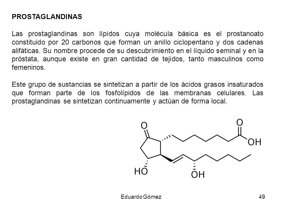 PROSTAGLANDINAS Las prostaglandinas son lípidos cuya molécula básica es el prostanoato constituido por 20 carbonos que forman un anillo ciclopentano y