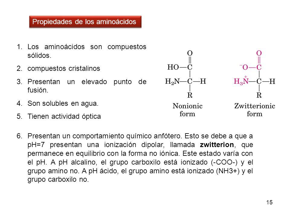 1.Los aminoácidos son compuestos sólidos. 2.compuestos cristalinos 3.Presentan un elevado punto de fusión. 4.Son solubles en agua. 5.Tienen actividad