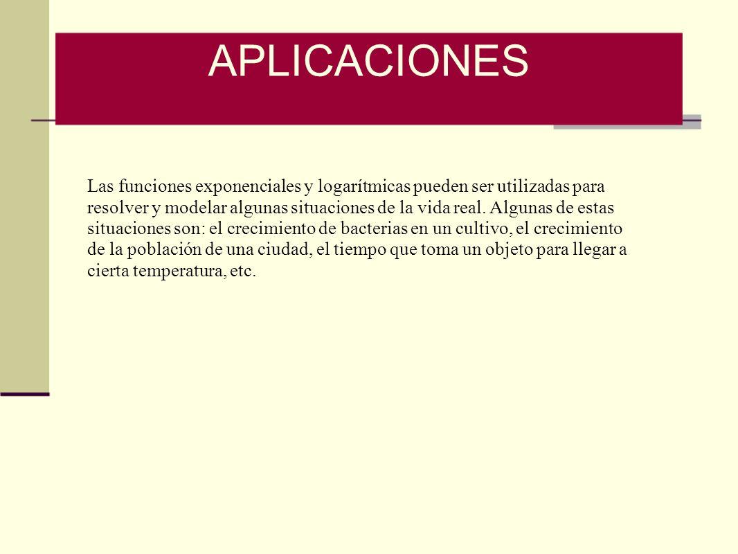 Las funciones exponenciales y logarítmicas pueden ser utilizadas para resolver y modelar algunas situaciones de la vida real. Algunas de estas situaci