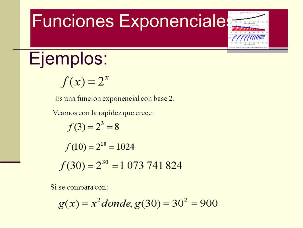 Ejemplos: Es una función exponencial con base 2. Veamos con la rapidez que crece: Si se compara con: Funciones Exponenciales
