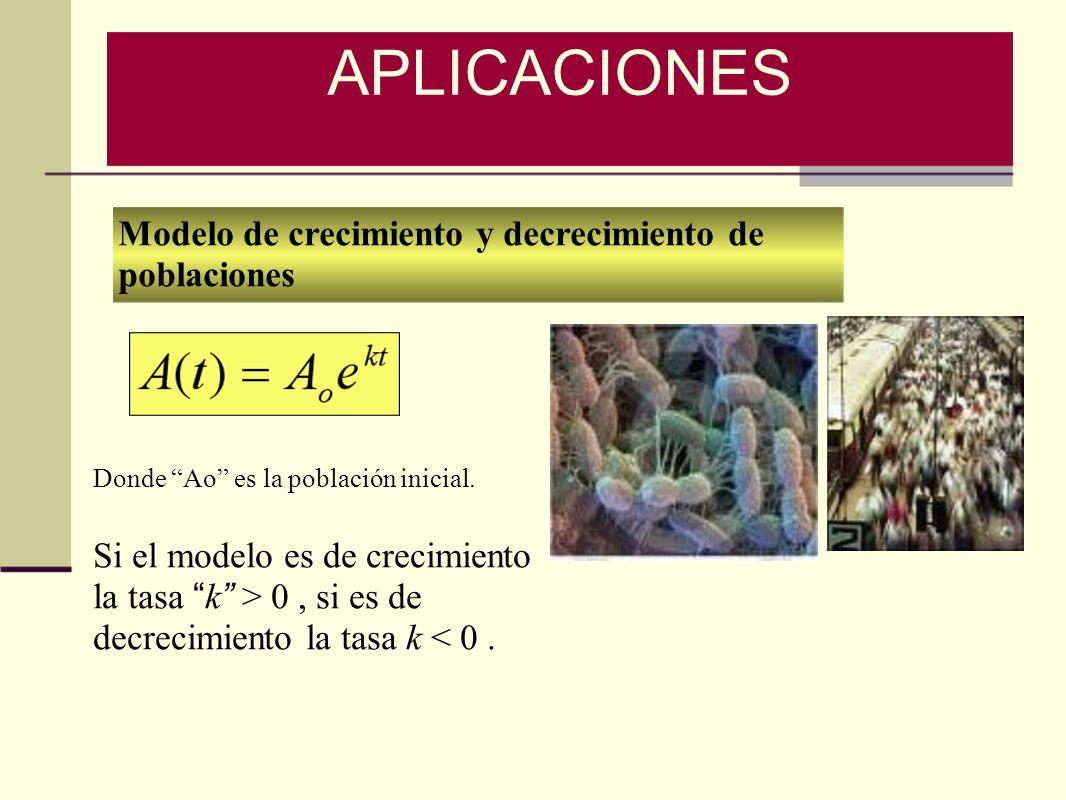 Modelo de crecimiento y decrecimiento de poblaciones Donde Ao es la población inicial. Si el modelo es de crecimiento la tasa k > 0, si es de decrecim