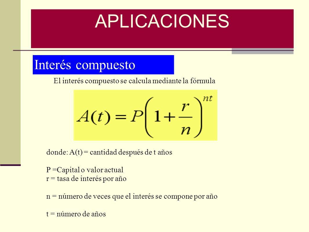 Interés compuesto El interés compuesto se calcula mediante la fórmula donde: A(t) = cantidad después de t años P =Capital o valor actual r = tasa de i